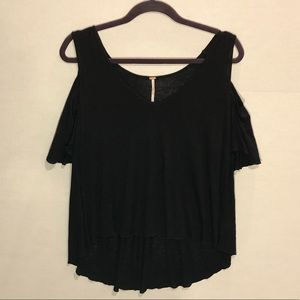 Free People Black Cold Shoulder Top - Size XS